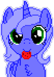 Size: 1040x1480 | Tagged: safe, artist:arifproject, editor:cocoa bittersweet, princess luna, alicorn, pony, chest fluff, cookie, cute, female, filly, food, horn, looking at you, manepxls, mare, mouth hold, pixel art, pxls.space, s1 luna, simple background, smiling, solo, transparent background, woona, younger