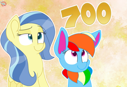 Size: 1562x1073 | Tagged: safe, artist:rainbow eevee, sunshower, oc, oc:rainbow eevee, eevee, pegasus, derpibooru, blue eyes, cute, dreamworks face, duo, eyelashes, female, folded wings, get, grin, happy, looking up, number, ocbetes, pokefied, pokémon, smiling, wings