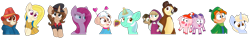 Size: 2378x363 | Tagged: safe, artist:rainbow eevee, lyra heartstrings, pinkie pie, oc, oc:kia ikea, oc:nootaz, bear, dog, earth pony, hedgehog, human, pig, pony, sheep, unicorn, aura, clothes, clover, collar, crossover, cute, deutsche bahn, eyebrows, eyebrows visible through hair, eyelashes, female, food, freckles, germany, get, glowing horn, grape, hand on hip, hat, heart, horn, ikea, index get, jacket, keia, leprechaun, looking at you, lucky charms, magic, male, masha and the bear, ocbetes, open mouth, paddington (bear), pinkamena diane pie, ponified, puppy, puppy dog pals, ram, russia, scarf, shirt, simple background, smeshariki, smiling, smiling at you, sweden, telekinesis, transparent background, uniform, wat, x00000 milestone