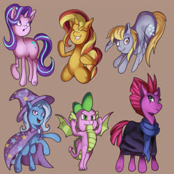 Size: 6400x6400 | Tagged: safe, artist:kenisu-of-dragons, derpy hooves, fizzlepop berrytwist, spike, starlight glimmer, sunset shimmer, tempest shadow, trixie, dragon, pegasus, pony, unicorn, the ending of the end, spoiler:s09e24, spoiler:s09e25, cape, clothes, derp, eyes closed, flexing, hat, line-up, pose, rearing, scarf, simple background, trixie's cape, trixie's hat, winged spike