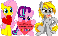 Size: 1116x684 | Tagged: safe, artist:anti1mozg, artist:comfydove, editor:cocoa bittersweet, derpy hooves, fluttershy, starlight glimmer, pegasus, pony, unicorn, blushing, cheek fluff, chest fluff, cute, ear fluff, envelope, female, heart, hearts and hooves day, holding, holiday, leg fluff, letter, looking at you, love letter, manepxls, mare, mouth hold, pixel art, pxls.space, shyabetes, simple background, sitting, smiling, text, transparent background, valentine's day