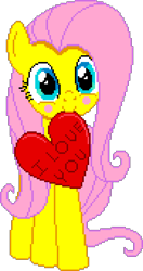 Size: 900x1710 | Tagged: safe, artist:comfydove, editor:cocoa bittersweet, fluttershy, pegasus, pony, blushing, cute, female, heart, hearts and hooves day, holding, holiday, looking at you, manepxls, mare, mouth hold, pixel art, pxls.space, shyabetes, simple background, smiling, solo, text, transparent background, valentine's day