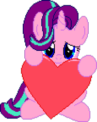 Size: 1150x1440 | Tagged: safe, artist:comfydove, editor:cocoa bittersweet, starlight glimmer, pony, unicorn, female, heart, holding, looking at you, manepxls, mare, pixel art, pxls.space, simple background, smiling, solo, transparent background