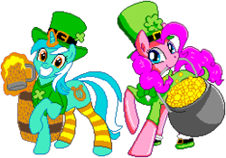 Size: 1032x724 | Tagged: safe, artist:brianblackberry, artist:frankier77, editor:cocoa bittersweet, lyra heartstrings, pinkie pie, earth pony, pony, unicorn, bottomless, bowtie, clothes, clover, cutie mark, female, four leaf clover, gold, grin, hat, holding, holiday, keg, leprechaun, leprechaun hat, levitation, looking at you, magic, manepxls, mare, mouth hold, mug, partial nudity, pixel art, pot, pot of gold, pxls.space, raised hoof, saint patrick's day, shirt, simple background, smiling, socks, striped socks, telekinesis, transparent background