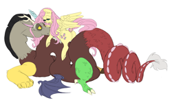 Size: 6593x4194 | Tagged: artist needed, source needed, safe, discord, fluttershy, draconequus, pegasus, pony, discoshy, female, male, shipping, straight
