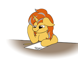 Size: 3220x2452 | Tagged: safe, artist:aaathebap, oc, oc only, oc:cinderheart, pony, unicorn, bored, female, homework, mare, paper, pencil, simple background, solo, spongebob reference, table, transparent background