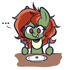 Size: 512x484 | Tagged: safe, artist:higgly-chan, oc, oc only, oc:withania nightshade, earth pony, original species, plant pony, pony, ..., bib, female, food, fork, knife, mare, pea, plant, plate, silly, table