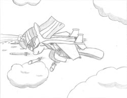 Size: 1021x783 | Tagged: safe, artist:twi clown, twilight sparkle, alicorn, original species, plane pony, pony, f-15 eagle, flying, missile, plane, planeified, species swap, traditional art, twilight sparkle (alicorn)
