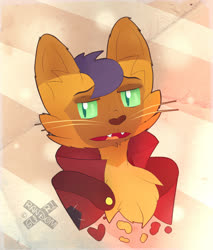 Size: 1970x2317 | Tagged: safe, artist:xrandomgurl, capper dapperpaws, abyssinian, anthro, bust, capperbetes, chest fluff, clothes, coat, cute, ear fluff, male, open mouth, solo, watermark, whiskers