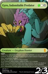 Size: 880x1335 | Tagged: safe, artist:bbsartboutique, oc, oc:gyro feather, oc:gyro tech, griffon, griffonized, magic the gathering, male, slash, species swap, tree