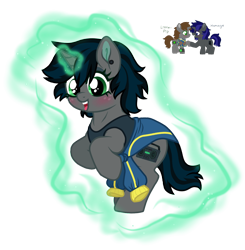 Size: 1406x1435 | Tagged: safe, artist:unoriginai, oc, oc only, oc:homage, oc:littlepip, pony, unicorn, fallout equestria, blushing, clothes, cute, ear piercing, fanfic, fanfic art, female, freckles, glowing horn, grin, hooves, horn, magic, magical lesbian spawn, mare, offspring, open mouth, parent:oc:homage, parent:oc:littlepip, parents:oc x oc, piercing, pipbuck, shipping, simple background, smiling, solo, transparent background, vault suit