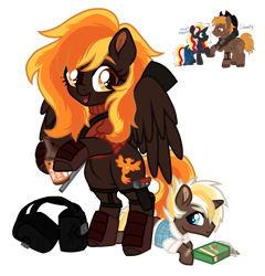 Size: 1289x1342   Tagged: safe, artist:unoriginai, oc, oc only, oc:calamity, oc:velvet remedy, fallout equestria, brother and sister, female, hoof hold, male, offspring, parent:oc:calamity, parent:oc:velvet remedy, parents:oc x oc, rearing, shipping, siblings, simple background, sugar bombs, transparent background