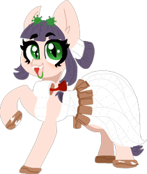 Size: 696x823 | Tagged: safe, artist:nootaz, oc, oc:corona chan, earth pony, pony, clothes, commission, coronavirus, covid-19, cute, dress, female, gala dress, looking at you, ocbetes, open mouth, povid-19, raised hoof, simple background, smiling, solo, toilet paper, transparent background