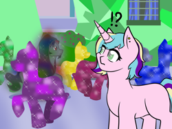 Size: 1280x960   Tagged: safe, artist:jolliapplegirl, king sombra, oc, oc:opal reverie, crystal pony, pony, unicorn, blind, crystal empire, exclamation point, female, interrobang, mare, next generation, offspring, parent:princess cadance, parent:shining armor, parents:shiningcadance, question mark, story included