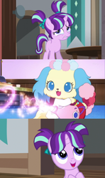 Size: 864x1455 | Tagged: safe, artist:mega-poneo, edit, edited screencap, screencap, starlight glimmer, dog, pony, unicorn, the cutie re-mark, uncommon bond, comic, crossover, female, filly, filly starlight, heart, jewelpet, mare, mega poneo strikes again, sapphie, screencap comic, teapot, younger