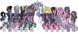 Size: 2048x910 | Tagged: safe, artist:chelseawest, princess flurry heart, oc, oc:shimmering glow, alicorn, earth pony, pegasus, unicorn, adult, alicorn oc, canon x oc, colt, decaplets, duodecaplets, earth pony oc, family, family photo, female, filly, foal, horn, male, octuplets, offspring, offspring shipping, offspring's offspring, older, older flurry heart, parent:king sombra, parent:oc:shimmering glow, parent:princess flurry heart, parent:radiant hope, parents:canon x oc, parents:hopebra, pegasus oc, shipping, straight, teenager, unicorn oc, wings