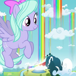 Size: 10000x10000 | Tagged: safe, artist:gwennie-chan, artist:jerryakiraclassics19, artist:scourge707, flitter, pegasus, pony, absurd resolution, bow, cloud, female, flying, giant pony, giantess, macro, mare, rainbow waterfall, winsome falls