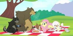 Size: 1024x515 | Tagged: safe, artist:velveagicsentryyt, fluttershy, harry, oc, oc:destiny, bear, hybrid, pony, rabbit, squirrel, animal, base used, cup, deviantart watermark, food, interspecies offspring, obtrusive watermark, offspring, parent:discord, parent:fluttershy, parents:discoshy, picnic blanket, sandwich, teacup, watermark