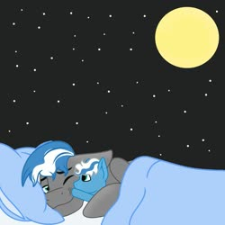 Size: 1024x1024 | Tagged: safe, artist:riofluttershy, oc, oc:cloud zapper, bed, blanket, boop, cuddling, foal, green eyes, moon, night, pillow, smiling, stars