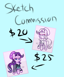 Size: 1500x1800 | Tagged: safe, artist:handgunboi, starlight glimmer, pony, advertisement, colored, commission, commission info, sketch