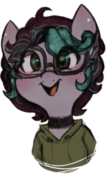 Size: 729x1200 | Tagged: safe, artist:hippykat13, oc, oc only, oc:kitty sweet, pegasus, pony, blushing, clothes, curly hair, cute, digital art, ear piercing, earring, female, freckles, glasses, hoodie, jewelry, mare, open mouth, piercing, ponysona, short hair, short mane, simple background, sketch, smiling, solo, traditional art, transparent background