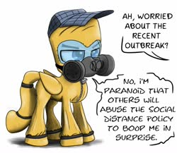 Size: 900x780 | Tagged: safe, artist:chopsticks, oc, oc only, oc:chopsticks, pegasus, pony, coronavirus, covid-19, dialogue, hat, hazmat suit, male, non-consensual booping, offscreen character, respirator, stallion, text