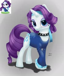 Size: 1280x1522 | Tagged: safe, artist:anonymous, rarity, pony, unicorn, /mlp/, 4chan, 80s, bandana, clothes, collar, eyeshadow, female, leotard, looking at you, makeup, mare, pocket ponies, retro, screencap reference, solo