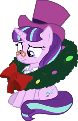Size: 7854x12112 | Tagged: safe, artist:uigsyvigvusy, snowfall frost, starlight glimmer, unicorn, a hearth's warming tail, absurd resolution, clothes, female, hat, mare, simple background, solo, spectacles, top hat, transparent background, vector, wreath