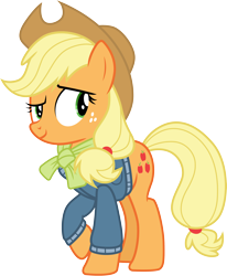 Size: 3000x3640   Tagged: safe, artist:cloudyglow, artist:yanoda, applejack, earth pony, pony, triple pony dare ya, .ai available, cowboy hat, cutie mark, female, freckles, hat, mare, raised hoof, simple background, solo, stetson, transparent background, vector