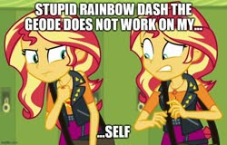 Size: 780x500 | Tagged: safe, edit, edited screencap, screencap, sunset shimmer, human, equestria girls, forgotten friendship, spoiler:eqg series, caption, female, geode of empathy, image macro, magical geodes, meme, self paradox, text