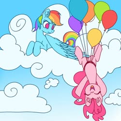 Size: 900x900 | Tagged: safe, artist:s-locon, pinkie pie, rainbow dash, earth pony, pegasus, balloon, cloud, cute, diapinkes, duo, female, floating, mare, on a cloud, sky, then watch her balloons lift her up to the sky