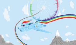 Size: 1500x880 | Tagged: safe, artist:auren-dawnstar, rainbow dash, pegasus, pony, badass, cloud, female, flying, hooves, mare, mountain, sky, solo, sonic rainboom, spread wings, wings