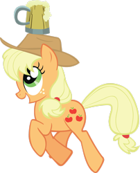 Size: 2203x2722 | Tagged: safe, artist:midnite99, applejack, the super speedy cider squeezy 6000, ah didn't learn anything, cider, simple background, solo, transparent background, trotting, vector
