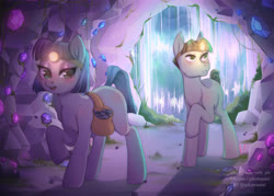 Size: 3626x2598 | Tagged: safe, artist:yukomaussi, maud pie, mudbriar, earth pony, pony, bag, cave, female, gem, gem cave, headlamp, male, maudbriar, missing cutie mark, saddle bag, shipping, straight, waterfall