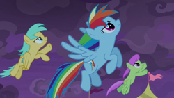 Size: 1920x1080   Tagged: safe, screencap, merry may, rainbow dash, sunshower raindrops, pegasus, pony, the summer sun setback, spoiler:s09e17, clothes, cloud, cloudy, determined, female, flag, flying, grin, night, side view, smiling, spread wings, underwear, wings