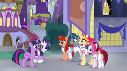 Size: 1920x1080 | Tagged: safe, screencap, cayenne, fire flare, rarity, twilight sparkle, alicorn, pony, unicorn, the summer sun setback, building, canterlot, clothes, female, folded wings, frown, grin, lidded eyes, looking at each other, male, night, open mouth, raised hoof, smiling, talking, twilight sparkle (alicorn), underhoof, wings