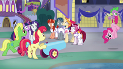 Size: 1920x1080 | Tagged: safe, screencap, apple bumpkin, cayenne, fire flare, pinkie pie, rarity, spike, twilight sparkle, wensley, alicorn, dragon, earth pony, pony, unicorn, the summer sun setback, apple family member, building, canterlot, carrying, clothes, cute, diapinkes, faic, female, flying, frown, grin, looking away, male, night, party cannon, smiling, twilight sparkle (alicorn), underhoof, wide eyes, winged spike