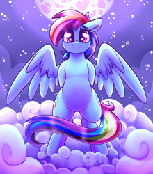 Size: 1500x1706 | Tagged: safe, artist:graphene, rainbow dash, pegasus, pony, belly, bipedal, cloud, cute, dashabetes, female, floppy ears, full moon, looking at you, mare, moon, night, plump, sky, smiling, solo, starry night, stars