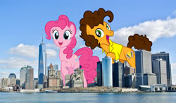 Size: 1800x1050 | Tagged: safe, artist:masem, artist:slb94, artist:theotterpony, cheese sandwich, pinkie pie, earth pony, pony, building, city, cloud, duo, excited, female, giant pony, giantess, highrise ponies, irl, macro, male, manhattan, mare, new york city, photo, ponies in real life, raised hoof, scenery, sky, stallion, story included, water