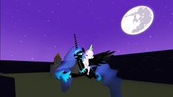Size: 1024x575   Tagged: safe, alternate version, artist:undeadponysoldier, nightmare moon, spike, alicorn, dragon, pony, 3d, canterlot, cute, female, flying, full moon, gift art, gmod, happy, hoof shoes, male, mare, mare in the moon, midnight, moon, peytral, riding, shipping, spikabetes, spikemoon, stars, straight, weeeeeeee