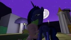 Size: 1024x575 | Tagged: safe, alternate version, artist:undeadponysoldier, princess luna, spike, alicorn, pony, 3d, canterlot, female, gmod, male, mare, mare in the moon, moon, shipping, spikelove, spiluna, straight