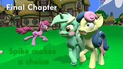 Size: 1920x1080   Tagged: safe, artist:papadragon69, berry punch, berryshine, bon bon, lyra heartstrings, spike, sweetie drops, comic:spike's cyosa, 3d, blushing, chapter image, choose your own adventure, comic, female, implied spike, part of a series, part of a set, source filmmaker, varying degrees of want