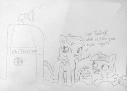 Size: 1829x1307 | Tagged: safe, artist:tjpones, edit, rainbow dash, twilight sparkle, alicorn, lizard, lizard pony, pegasus, pony, chemtrails, cloud, dialogue, duo, female, forked tongue, gas, gas tank, lineart, mare, marvel new warriors, misspelling, open mouth, prone, reptilian eyes, reptilians, slit eyes, sweat, traditional art, twilight sparkle (alicorn)