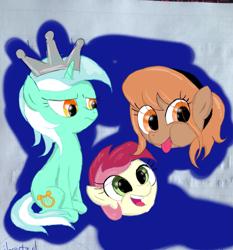 Size: 2969x3183 | Tagged: safe, artist:background basset, lyra heartstrings, roseluck, oc, oc:thingpone, alien, earth pony, pony, unicorn, crown, floating head, jewelry, regalia, sketch, sketch dump
