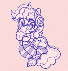 Size: 634x665 | Tagged: safe, artist:dawnfire, oc, oc only, oc:cinnabyte, earth pony, pony, adorkable, clothes, cute, doodle, dork, gaming headset, glasses, headset, monochrome, patreon, patreon reward, smiling, socks, solo, striped socks