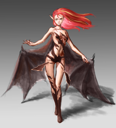Size: 2329x2560 | Tagged: safe, artist:amarthgul, sunset shimmer, human, vampire, armpits, female, humanized, solo, species swap, wings