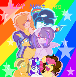 Size: 1200x1220 | Tagged: safe, artist:emeraldjeweltm, artist:sparkleheartyrose24, oc, oc only, oc:apple aurora, oc:diamond star, oc:lightning blaze, oc:lizzie apple, oc:party blow, oc:sparkling starsky, oc:speed star, alicorn, earth pony, pegasus, pony, unicorn, alicorn oc, base used, colored pupils, earth pony oc, eye clipping through hair, female, horn, offspring, parent:applejack, parent:big macintosh, parent:caramel, parent:cheese sandwich, parent:fancypants, parent:flash sentry, parent:fluttershy, parent:pinkie pie, parent:rainbow dash, parent:rarity, parent:soarin', parent:twilight sparkle, parents:carajack, parents:cheesepie, parents:flashlight, parents:fluttermac, parents:raripants, parents:soarindash, pegasus oc, rainbow background, starry background, stars, unicorn oc, wings