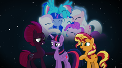 Size: 3840x2160 | Tagged: safe, alternate version, artist:ejlightning007arts, applejack, fizzlepop berrytwist, fluttershy, pinkie pie, rainbow dash, rarity, sunset shimmer, tempest shadow, twilight sparkle, alicorn, earth pony, pegasus, unicorn, broken horn, eye scar, eyes closed, female, friendship forever, horn, lesbian, mane six, open mouth, sad, scar, shipping, stars, sunsetsparkle, support, supporters, teary eyes, tempestlight, tempestlightshimmer, tempestshimmer, textless, twilight sparkle (alicorn)