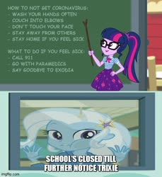 Size: 500x546 | Tagged: safe, artist:mlpfan3991, edit, edited screencap, screencap, sci-twi, trixie, twilight sparkle, equestria girls, equestria girls series, forgotten friendship, holidays unwrapped, spoiler:eqg series, spoiler:eqg series (season 2), 911, caption, coronavirus, covid-19, exodia, image macro, meme, misspelling, text