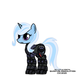 Size: 1024x1024 | Tagged: safe, artist:christiancerda, trixie, armor, my little portal, portal (valve), science fiction, simple background, solo, transparent background, vector, watermark
